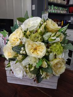 Gorgeous bridal bouquet in lemons and white, looks like fresh but pretty in silk flowers x