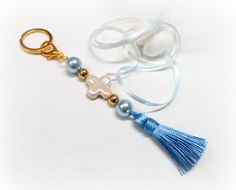 Keychain Baptism Favors with Porcelain Cross by VessCrafts on Etsy