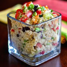 Mediterranean Quinoa Salad. A versatile healthy and very nutritious recipe that can be served hot as a side dish or cold as a terrific alternative to pasta salad.