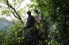 We take a short break 1000 feet up with our guide, Marlon, a St Lucian native who knows the route well.  .JPG