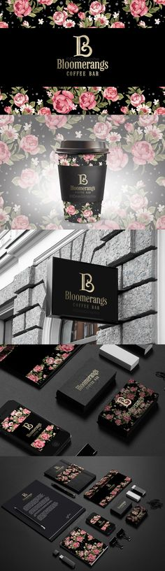 #coffee #bar #brandidentity #logo #logodesign #design #designer #flower #pattern #creativity #inspiration #logostore #behance #gold #luxury #luxurybrand Bloomerangs - Coffee Bar - Brand Identity for Sale: http://one-giraphe.com/prev.php?c=111