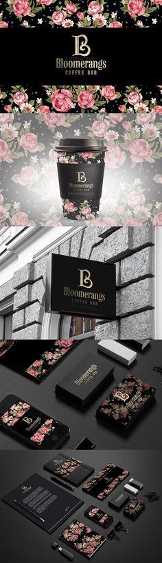 #coffee #bar #brandidentity #logo #logodesign #design #designer #flower #pattern #creativity #inspiration #logostore #behance #gold #luxury #luxurybrand Bloomerangs - Coffee Bar - Brand Identity for Sale: http://one-giraphe.com/prev.php?c=111