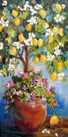 Lemon Tree Original landscape painting wall by ElainesHeartsong