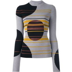 Maison Margiela contrast patterned ribbed knit top (£690) ❤ liked on Polyvore featuring tops, sweaters, grey, grey striped sweater, print sweater, striped long sleeve top, striped top and grey long sleeve sweater