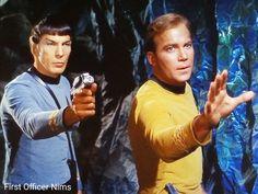 """""""The Devil in the Dark"""" Star Trek TOS 1967 Leonard Nimoy Spock Kirk: """"Hold it. It's not making any threatening moves. Star Trek 1966, Star Trek Tos, Star Wars, Spock And Kirk, Star Trek Movies, Star Trek Original, Starship Enterprise, Leonard Nimoy, Film Releases"""