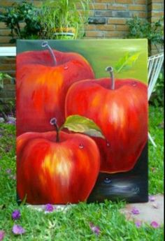 Oil painting of apples, great idea for kitchen art. Apple Painting, Fruit Painting, Fruit Art, Small Art, Kitchen Art, Pictures To Paint, Acrylic Art, Art Techniques, Painting Inspiration