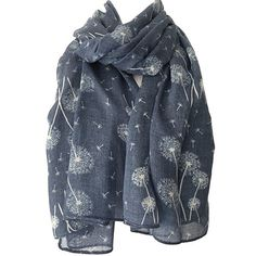 Blue Floral Scarf Ladies White Flowers Wrap Denim Blue Dandelion... ($13) ❤ liked on Polyvore featuring accessories, scarves, flower scarves, wrap shawl, floral scarves, white scarves and wrap scarves