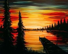 pRaise your glass to a NEW kind of night out! Paint Nite® invites you to create art over cocktails at a local restaurant or bar, guided by a professional artist and party host. Grab your friends 513340057521921992 Lake Painting, Painting & Drawing, Sunset Acrylic Painting, Easy Paintings, Sunset Paintings, Autumn Art, Painting Inspiration, Watercolor Paintings, Art Projects