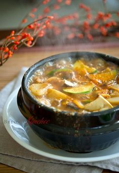 Beef Doenjang Jjigae, Korean soy bean paste stew with beef - This is the Korean dish in Toronto's Koreatown that made me fall in love with Korean food before I came to Korea ♥ The only difference is that there was a bit of tofu as well as a raw Korean Dishes, Korean Food, K Food, Food Porn, Food Menu, Asian Soup, Korean Beef Soup, Bean Paste, Soups And Stews