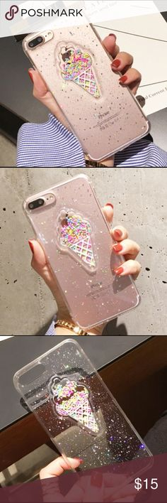 Sprinkles Ice Cream iPhone 7/7plus Case -Clear Boutique=Brand New                                                                                                Available In Both Sizes: iPhone 7 and 7 plus(sold)                               Material: TPU                                                              Clear with Colorful Sequins                                       ❤Bundle 2+ Items For Discount ❤No Trades Accessories Phone Cases