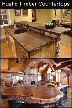 Rustic Timber Countertops - A cabin or a rustic designed house is not complete without a rustic kitchen countertop. If you're - Rustic Timber Countertops - A cabin or a rustic designed house is not complete without a rustic kitchen countertop. Home Renovation, Home Remodeling, Kitchen Remodeling, Rustic Kitchen Design, Rustic Design, Kitchen Designs, Country Kitchen, Design Rustique, Design Your Home