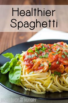 Healthier Spaghetti Dinner - Enjoy All The Deliciousness Of This Classic Comfort Food Even More Knowing That You Are Dialing Down The Calories And Carbs And Dialing Up The Nutrition. Homemade Spaghetti, Spaghetti Recipes, Pasta Recipes, Cooking Recipes, Xmas Recipes, Corn Recipes, Noodle Recipes, Winter Recipes, Healthy Pastas