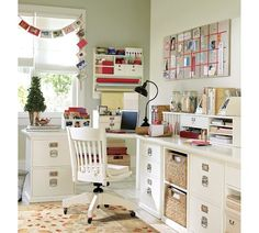 American classic home office by Pottery Barn. At once workspace, craft central and inspiration zone, this home office is the perfect blend of function and fun. Craft Room Office, Room Organization, Home Office Furniture, Home Office Design, Room Inspiration, Craft Room Design, Home Decor, Home Office Organization, Room Design