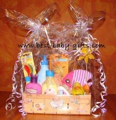 instructions, ideas and tips for a beautiful  inexpensive baby gift basket