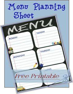 free printable menu planning sheet