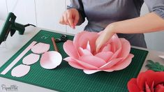 Peony Paper Flowers Video Tutorial & SVG/PDF Templates A beautiful set of 3 types of paper peony flo Paper Flowers Craft, Large Paper Flowers, Paper Flower Wall, Flower Crafts, Diy Flowers, Flower Decorations, Wedding Decorations, Paper Crafts, Paper Flowers Wall Decor
