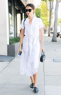 White shirt dress + black pointed toe mules
