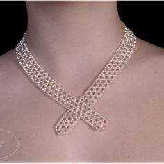 Elegant woven pearl necklace inspired by Victorian Era, by Marina J