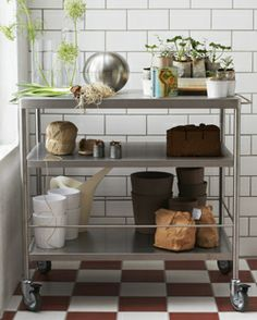 Kitchens & Kitchen Accessories - IKEA - use a kitchen cart as a garden stand & station