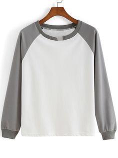 Colour-block Round Neck Loose Sweatshirt -SheIn(Sheinside)
