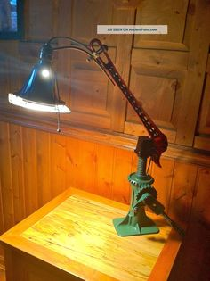 Bizarre Steam Punk Alchemy Vintage Cast Industrial Junk Parts Table Desk Lamp Lamps photo