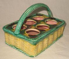 English Antique novelty Majolica Egg Basket