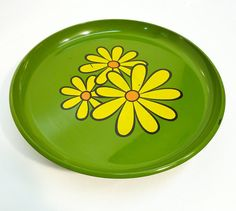 70s daisy footed cake/cheese plate sunny yellow and by gillardgurl, $18.00