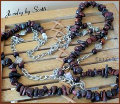 Red Tiger Eye Silver Chain Necklace by JewelryByScotti on Etsy, $25.00