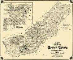 Old County Map - Madera California Landowner - Smith 1914 - 27.56 x 23…