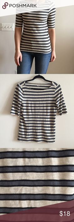 JCrew Striped Painter Tee Slate Cream A super cute boat neck jcrew painter tee with slate and cream colored stripes! Sleeves hit just above elbow ditch and styles perfectly with a statement necklace! Perfect addition for a minimalist style closet staple! Reasonable offers considered :) J. Crew Tops Tees - Short Sleeve