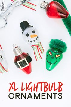 Make your own adorable XL bulb homemade ornaments with this step by step tutorial. Customize with your favorite characters for even more fun!