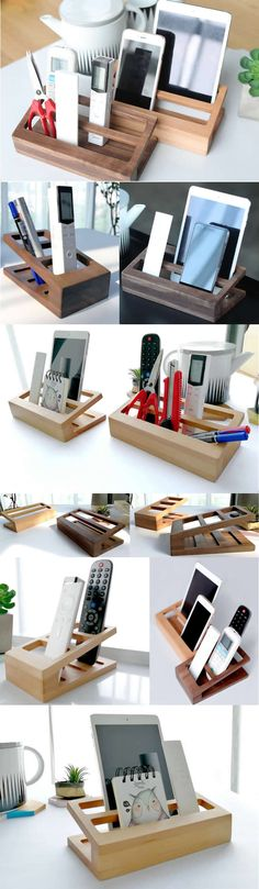 Bamboo Wooden Office Desk Organizer Pen Pencil Holder Stand Smart Phone Mobile Phone iPad Dock Stand Remote Control Holder Organizer Memo Holder - Phone Stand / Pencil Holder / Business Card Holder
