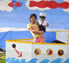 DIY Boat with backdrop for First birthday party. Sailor Theme.