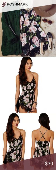"""Black Floral Lace Romper NWOT black floral romper with back zip, adjustable straps, and unfinished lace trim. No size tag, but fits like a size small, as you can see on me in side by side photos in two different rompers--yours will be brand new--and I am 5'7"""", wear a size 4 dress and 27 jeans). Last 2 photos are of the romper you will be receiving (floral patterns slightly vary from piece to piece so they ones I am modeling aren't exactly alike). [Cover photo via @whatdoesthegiraffewear on…"""