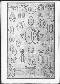 Cross stitch monograms and borders, some Art Nouveau.   (visit site for bigger picture)  Gracieuse. Geïllustreerde Aglaja, 1911, aflevering 14, pagina 16