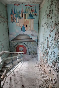 Lost | Forgotten | Abandoned | Displaced | Decayed | Neglected | Discarded | Disrepair | Pripyat. Mural in a kindergarten.