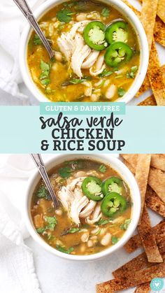 Salsa Verde Chicken and Rice Soup - Soothing chicken and rice soup with a salsa verde twist! This is the perfect meal for cold days or when youre feeling under the weather. (Gluten-Free, Dairy-Free) // Chicken and Rice soup recipe // chicken rice soup Chicken Rice Soup, Chicken Soup Recipes, Healthy Soup Recipes, Mexican Food Recipes, Vegetarian Recipes, Cooking Recipes, Recipe Chicken, Instapot Chicken Soup, Brothy Soup Recipes