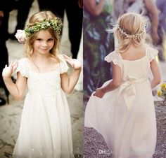 The little girl dresses which match the flowers-boho beach cap sleeves flower girl dresses 2016 lace chiffon kids formal gowns for weddings with sash first communion floor length is offered in nameilishawedding and on DHgate.com toddler girl shoes along with wedding shop are on sale, too.