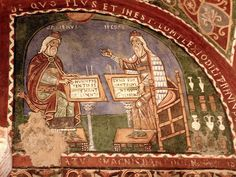 Anagni Italie | 12th century mural depicting early physicians Galen and Hippocrates