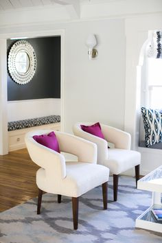 #living-room, #rug, #purple, #side-chair  Photography: Monica Wang - www.monicawanginteriors.com
