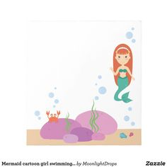 Mermaid cartoon girl swimming in the sea notepad