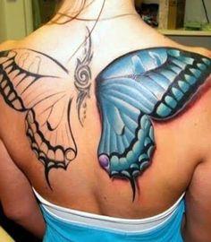 Butterfly Back 3d tattoo Design for Girls Image courtesy -... - http://www.buzzenperf.fr/butterfly-back-3d-tattoo-design-for-girlsimage-courtesy/ #Tatoos
