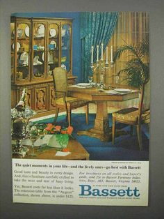 1966 Bassett Aegean Collection Furniture Ad - Quiet-This is a 1966 ad for a Bassett Aegean Collection Furniture! The size of the ad is approximately 5 Furniture Ads, Furniture Vintage, Vintage Home Decor, 1960s Interior Design, Quiet Moments, Vintage Ads, In This Moment, Display, Crafts