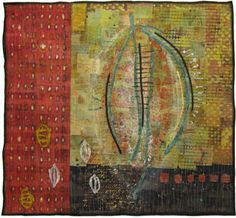 Seedpod 4  Textile collage with hand-dyed cotton fabric, machine stitched. 30in. x 28in.  Jennifer Solon.