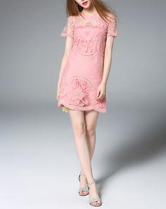 #AdoreWe #VIPme Shift Dresses - ZERACO Pink Cute Floral Embroidered Mini Shift Dress - AdoreWe.com