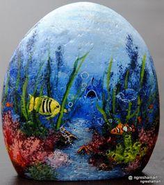 handpainted rocks, saltwater fish paintings,rock art,aquarium art,fish art