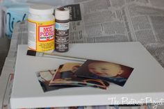 Mod Podge pictures on canvas - homemade christmas presents