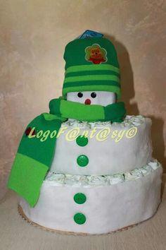 Snowman diaper cake - torta di pannolini pupazzo di neve