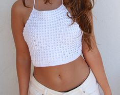 Ivory High Neck Crochet Crop Top Handmade by shopQuare on Etsy