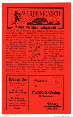 Original-Werbung/Prospekt 2-seiter 1926 - WERDE MENSCH / HUMBOLDT VERLAG TABARZ - ca. 130 x 220 mm